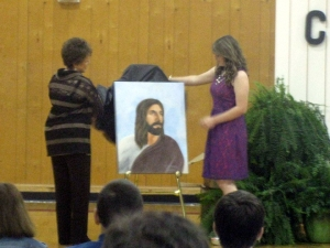 Negreet High School (a public school in Louisiana) unveils portrait of Jesus (credit: The Independent Monthly, Facebook)