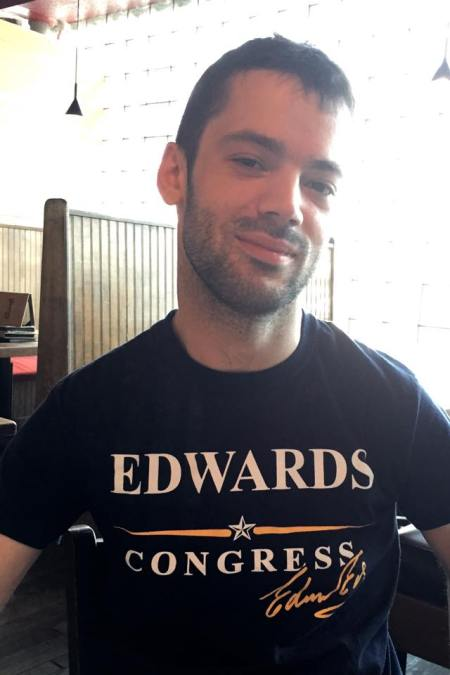 The author, on election day, wearing the final campaign t-shirt of Edwin Edwards's final campaign